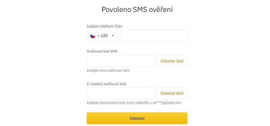 Binance - SMS ověření