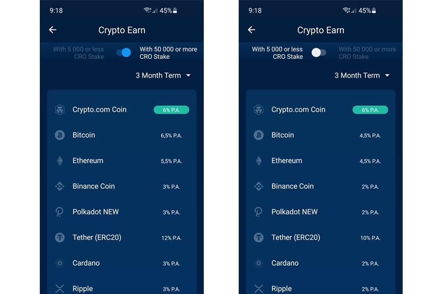 Crypto.com Earn úroky