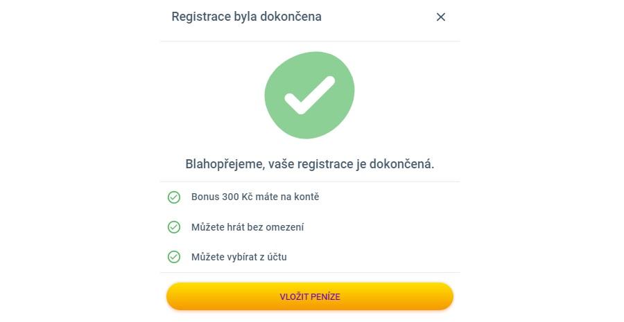 Korunka - dokončení registrace