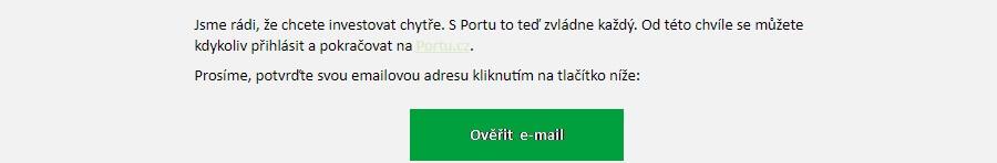 Portu registrace - ověření emailu