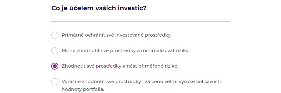 Portu registrace - účel investice