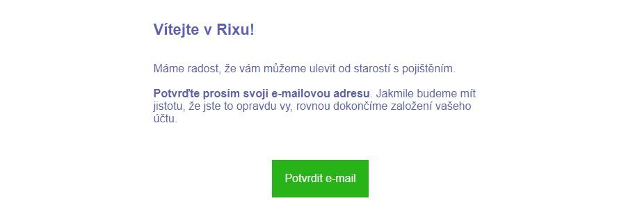 RIXO - potvrzení emailové adresy
