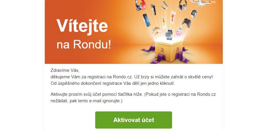 Rondo - aktivace účtu