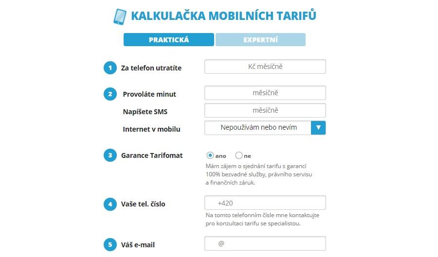 Tarifomat - kalkulačka mobilních tarifů