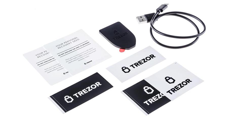 Hardwarová peněženka Trezor - obsah balení