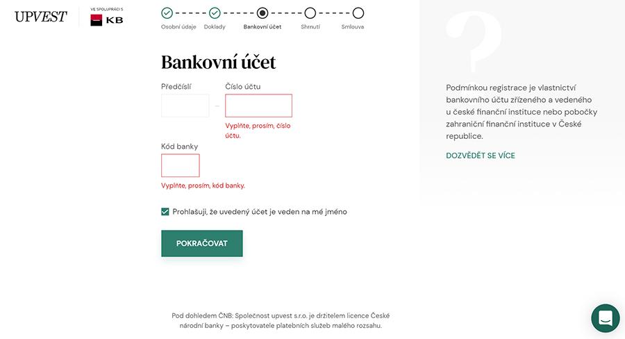 Upvest registrace - bankovní účet