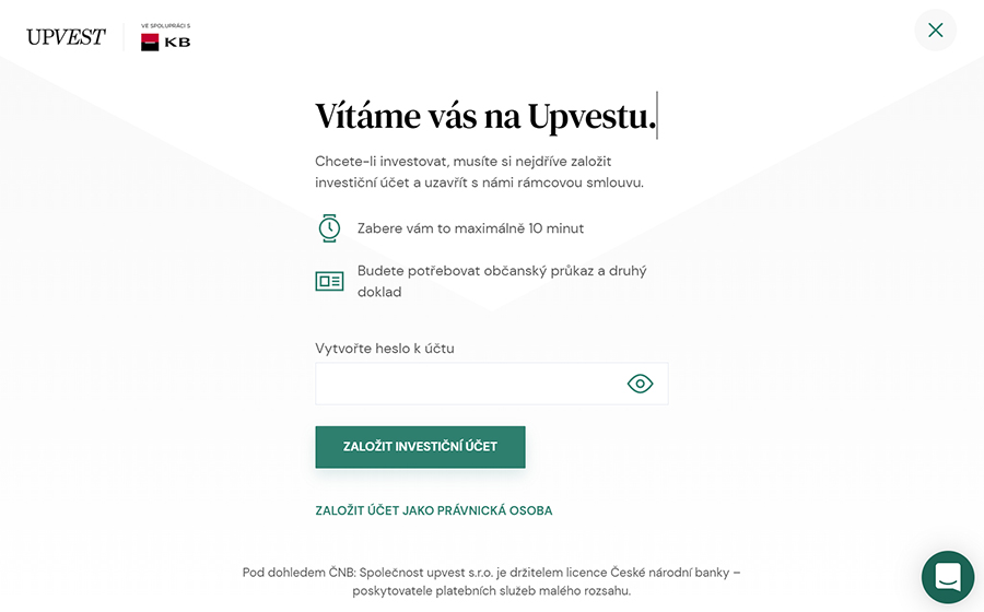 Upvest registrace - heslo