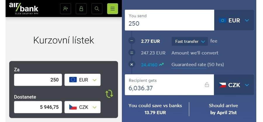 Wise porovnání - Wise vs AirBank